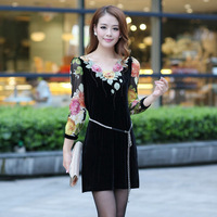 2013 autumn plus size women gold velvet slim one-piece dress embroidery skirt
