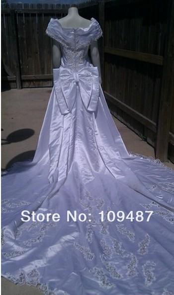 White wedding dress princess by beads sequin long train(China (Mainland))