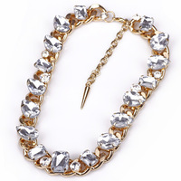 New Fashion Accessories Gold Luxury Coarse Chain Full Rhinestone Large Particles Gem Short Design Necklace Free Shipping