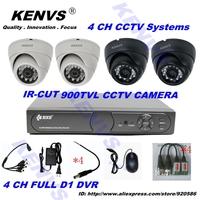 900tvl FULL D1 CCTV System 4ch CCTV DVR Recroder 900TVL DOME IR Camera With IR CUT DVR Kit