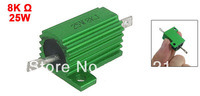 Chasis Mounted Green Aluminum Clad Wirewound Resistors 25W 8K Ohm 5%