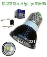 Freenshipping  E27 COB 3W 330lm Black Aluminum shell (COB3B) Led spot light AC100-250V