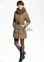 free shippingHot-selling fashion fur collar large medium-long down coat fashion women down jacket 2013 new arrival height160-190