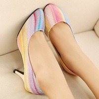 free shipping Rainbow princess shoes thin heels pointed toe high-heeled shoes