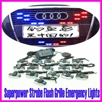 New 16 x 2 LED 3 Modes Lamp Car Red+Blue / White Grille Flash Strobe Emergency Light Ultra-Bright +Free Shipping