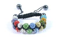 2013 new style Shamballa-Jewelry-Bracelets-New-Double-Row-Shamballa-Bracelets-Micro-Pave-CZ-Disco-Ball-10mm-Bead-