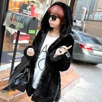 Imitation fur coat women long sleeve hooded coat thick padded jacket, sheepskin fur, women winter coat, women fur coat