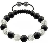 2013 new style white crystal and hello kitty beads shamballa bracelet