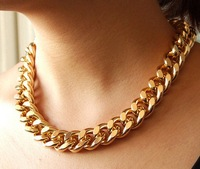 18inch GOLD Plated Chunky Aluminium Curb Chain Necklace jewelry