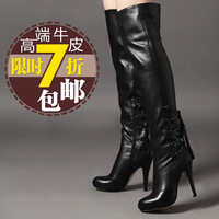 Winter fashion ultra high heels boots gaotong black genuine leather over-the-knee 25pt thin heels winter boots zipper full