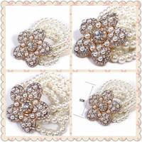 Minimum Order $20 (mixed order)   Fashion accessories full rhinestone flower multi-layer pearl elastic bracelet