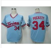 Free Shipping Minnesota Twins #34 Kirby Puckett American Baseball Jersey Men's cheap good quality jersey size:M-XXX
