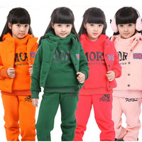 Child sweatshirt piece set female child thickening set children's clothing kids clothes big boy women's male child autumn and