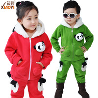 Children's clothing male child cartoon panda set child clothes thickening cardigan sweatshirt