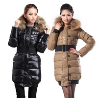 2012 winter women's slim long design slim super large raccoon fur down coat