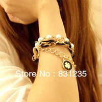 Hot Sale!  Popular Hawaiian style  Black Flower Multilayer European retro with pearl bracelet  B21