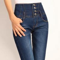 High waist jeans for women elastic slim skinny pants abdomen slim blue breasted drawing fleece pencil pants Free shipping