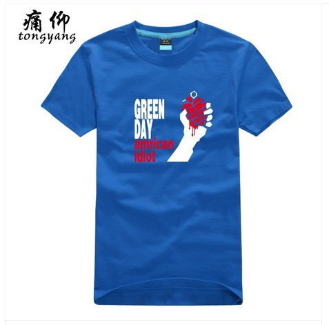 Green Day roll band Men's Fashion Casual Blue T-Shirts Mix Order %100 Cotton Shorts Sleeves O-Neck Sports White T-Shirt T-923936(China (Mainland))