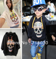 HOT 2013 new Children's clothing kids Fluorescent colors skull fashion street hooded sweatshirt child all-match batwing shirt