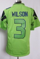 2013 New Men Game/elite 3 Russell Wilson green blue white American football Jersey,Cheap  Mens Sports Jersey,Embroidery logos