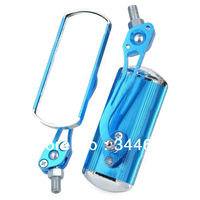 A Pair Motorcycle Aluminum Glass Anti-Glare Rear View Mirrors Blue 360 Degree Adjustable Free Shipping