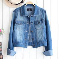2014 Spring Autumn New Arrival Water Wash Short Design Denim Jacket Long Sleeve Slim Outerwear Top Women's Coat