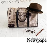 Korean Style Newspaper Design Print Trendy One Shoulder PU Leather Bag Zipper Travel Handbag Tote Bag