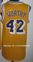Cheap Sale #42 James Worthy gold Men's  Basketball jerseys free shipping accept mix order