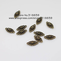 Free shipping 120pcs 8*16mm Antique Bronze Metal Alloy Mini Hollow Flower Jewelry Connectors Jewelry Findings 6512