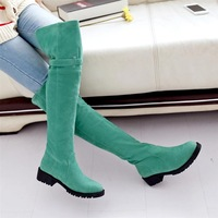 Spring and autumn high-leg over-the-knee female boots elastic flannelet boots
