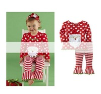 Wholesale--5set/lot New arrivals Christmas Cute Santa Claus head girl long sleeve Polka Dot Set Top+leggings free ship