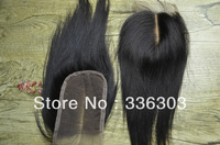 Cheap 100% Indian virgin human hair lace top closure,middle part,3.5x4 lace size,silk straight ,unprocessed virgin hair 1b#