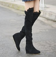 2013 autumn-summer new fashion boots for women vintage sweet lace high-leg boots round toe elevator decoration flats for women
