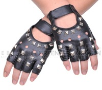 Hot-selling rivet gloves ds dj semi-finger gloves male rivets punk