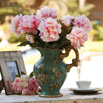 - 2 peony rustic fashion artificial flower artificial flower dining table silk flower decoration