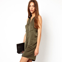 womens dark green sleeveless medium-long dress with double pocket for wholesale and freeshipping