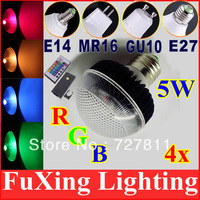 [5W GU10 E27 MR16 E14]Hot Sale 4X Energy Saving RGB LED Lamp with IR Remote 16 Color RGB Changing Lamp for home garden party