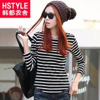299 50 HSTYLE 2013 autumn women's slim stripe print t-shirt aa1079