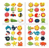 Free shipping 12pcs/lot wooden cute cartoon fridge magnet sticker