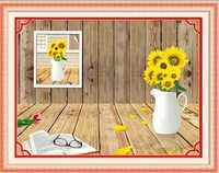 cross crochet thread Cross Stitch Pattern  3D precise printing the living Golden sunflower plants cros stitch crochet yarn