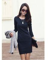 2013 new autumn women temperament was thin inner dress / plus size slim long-sleeved dress  Freeship instock