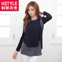 299 50 HSTYLE  autumn women's o-neck long-sleeve T-shirt ej3055 patchwork
