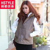 winter women's with a hood solid color pocket regular style cotton vest du0536 chokecherry