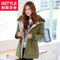 winter women's with a hood drawstring medium-long plus velvet wadded jacket yc2131