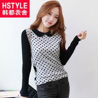 autumn women's peter pan collar polka dot slim long-sleeve T-shirt lz2161