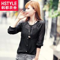 autumn women's street lace o-neck long-sleeve chiffon shirt jq3047