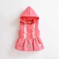 Child with a hood pullover vest female child vest skirt girls vest child vest tank dress