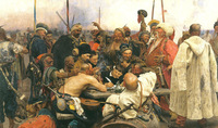 Oil painting Repin - Zaporozhye Cossacks Reply Ottoman Sultan Mehmet IV's letter