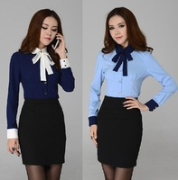 New 2015 Autumn Women Suits Ladies Business Skirt Sets Elegant Blue Plus Size XXXL Working Outfit Free Shipping