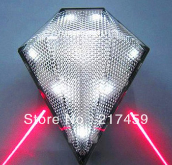 Diamond Jewel Cycling Bicycle Bike Laser Lane 3 Mode LED Tail Light White